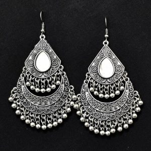 Chandbali Earrings - Oxidised Silver Mirror Earrings