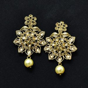 Chandbali Earrings - Oxidised Golden Earrings With Moti