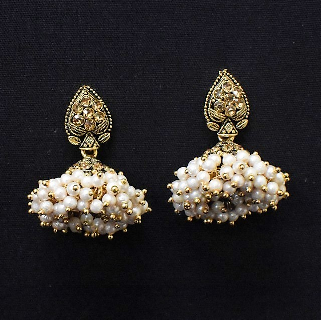 Earrings for Women - Oxidised Golden Jhumkas with White Moti