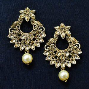 Chandbali Earrings - Oxidised Golden Earrings With Moti