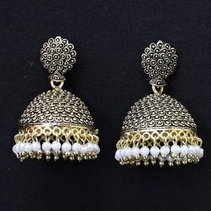 Jhumka - Oxidised Golden Jhumkas with White Moti