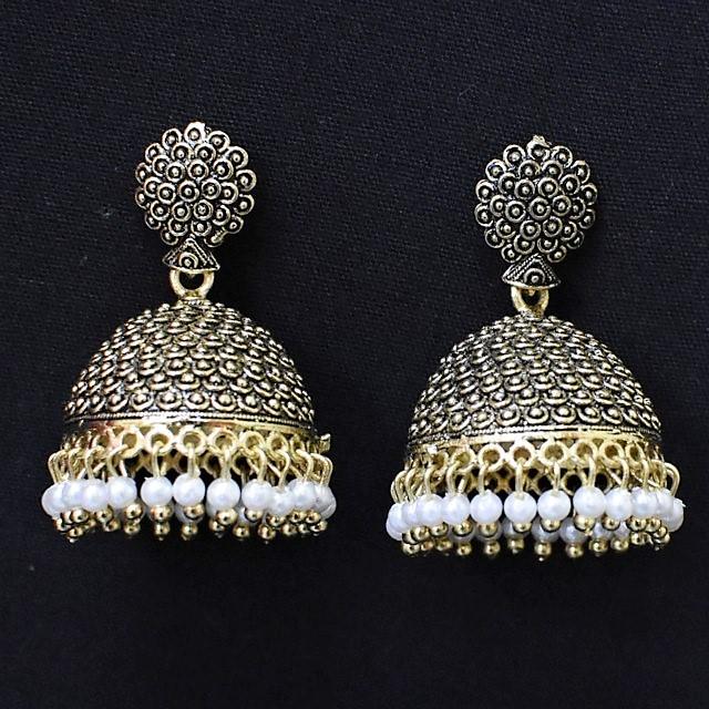 Jhumka - Oxidised Golden Jhumkas with White Moti