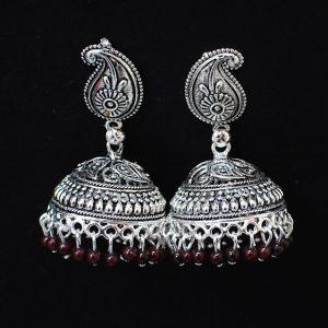 Jhumka - Oxidised Silver Jhumkas with Maroon Moti