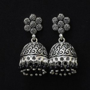 Oxidised Silver Jhumka Earrings with Black Moti
