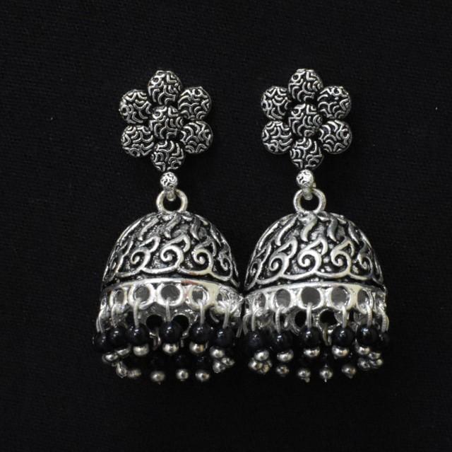 Oxidised Silver Jhumka Earrings with Black Moti