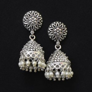 Oxidised Silver Jhumka Earrings with White Moti