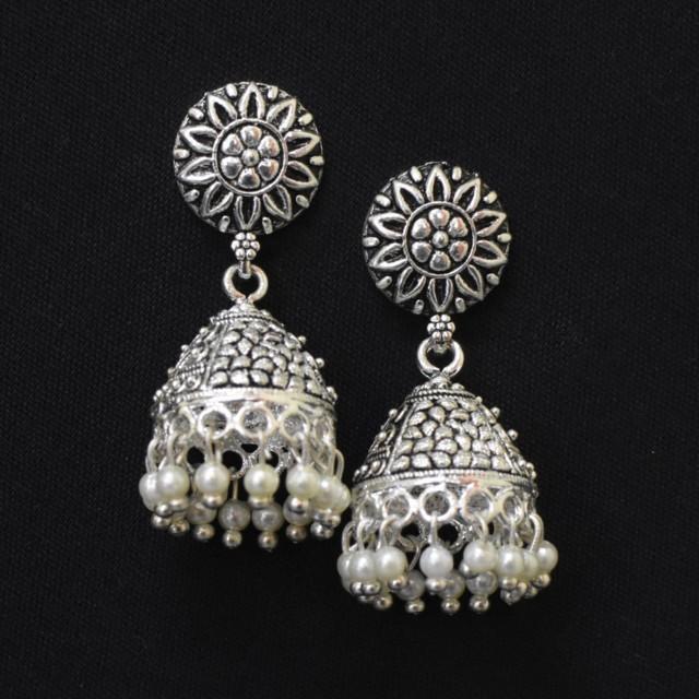 Oxidised Silver Jhumka Earrings with White Moti