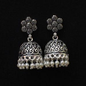 Oxidised Silver Jhumka