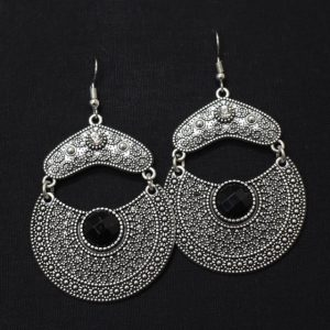 Oxidised Silver Chandbali with Black Stone