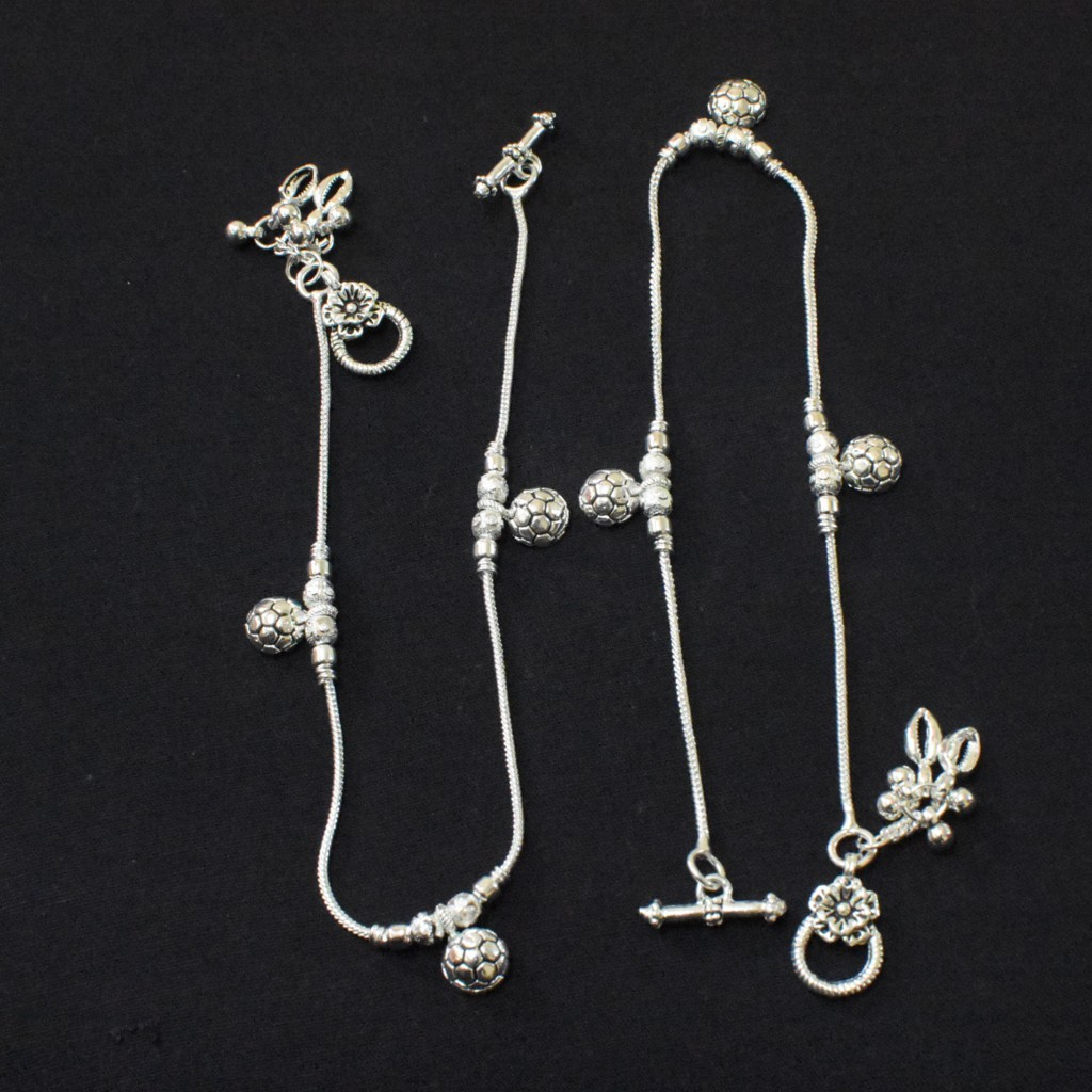 Anklets - Oxidized Silver Payal