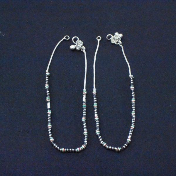 Anklets - Oxidized Silver Payal